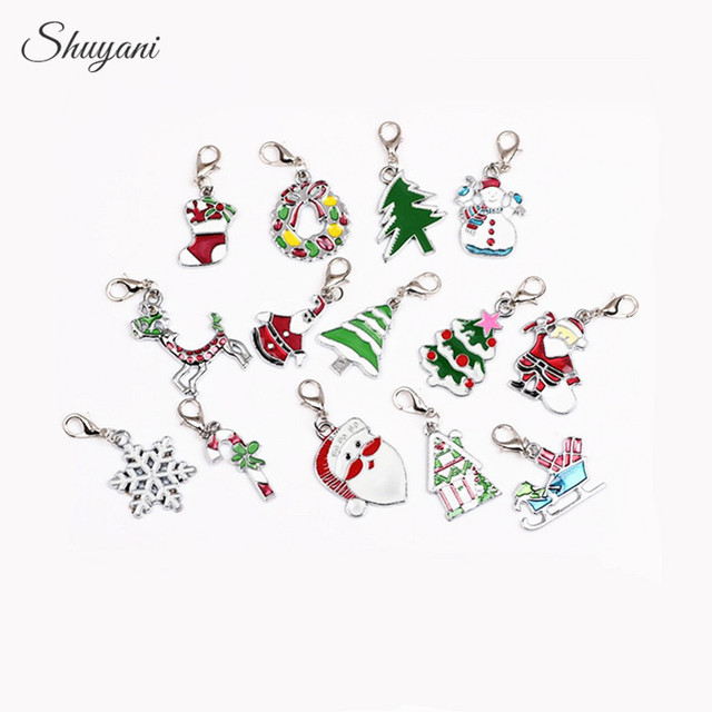 christmas gift 20pcslot mixed silver plated charms diy enamel christmas charms pendants with lobster - Christmas Charms