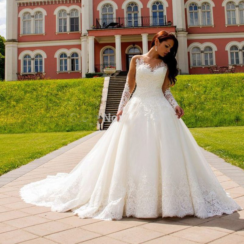 Vintage Casamento Wedding Dresses 2017 Long Sleeve See