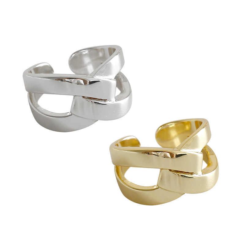 SHANICE กว้างใบหน้าเรียบเนียน 925 X ข้ามสไตล์เปิดแหวนสำหรับผู้หญิงแหวนสำหรับผู้ชายผู้หญิงพังค์สไตล์ Bijoux Femme