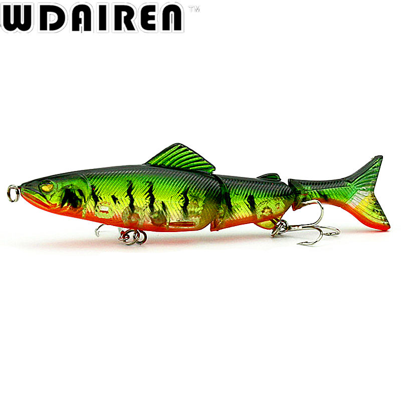 1Pcs 12.5cm 17.7g 3 Sections Fishing Minnow Lure Artificial Bait Treble Hooks  Crankbait Fishing Tackle 4 # Hook 8 Colors NE-358 1 pcs fish lure topwater popper minnow freshwater fishing lures bass bait tackle 4 treble hook fishing lure bait color random