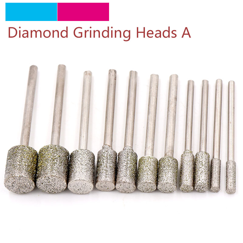 3mm 12mm Rotary Diamond Burr Drill Engraving Grinding Bit 60 Grit Glass Stone