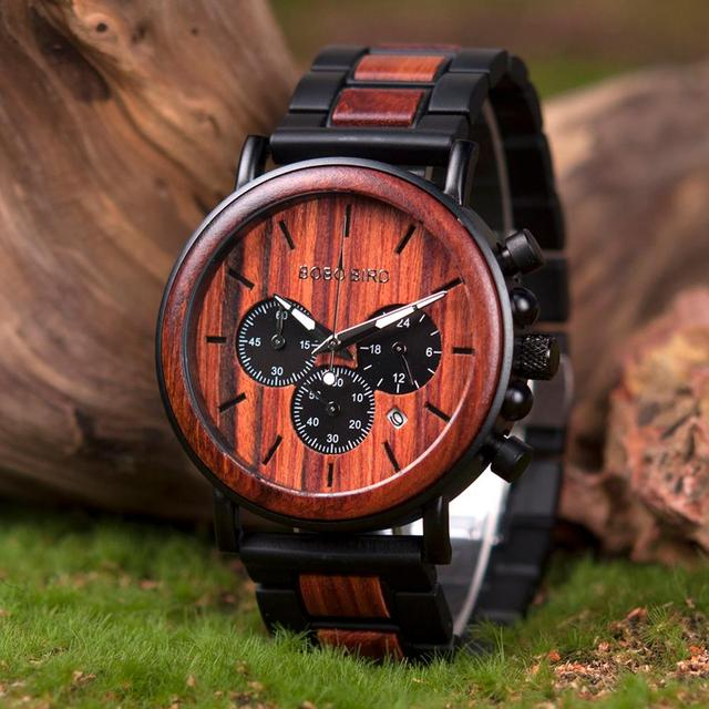 BOBO BIRD Men's Luxury Stylish Chronograph Wooden Quartz Watches 4