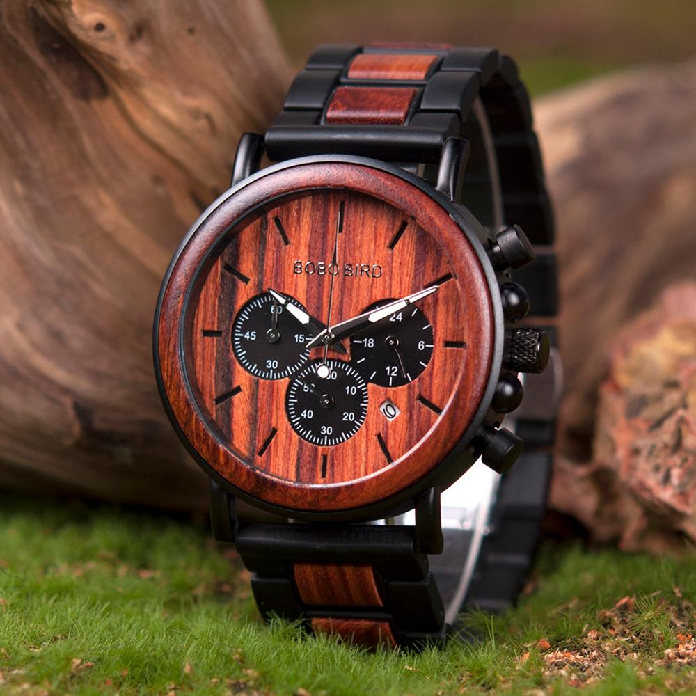 BOBO BIRD Wooden Watch Men erkek kol saati Luxury Stylish Wood Timepieces Chronograph Military Quartz Watches in Wood Gift Box 4