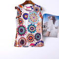 New Tank Tops Vest Camisole Chiffon Flower Print Cheap Women Clothing China Casual Sleeveless Camis Regata Feminina Blusas Tops