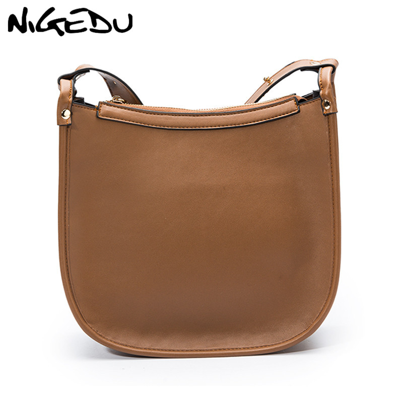 NIGEDU Vintage Women's Shoulder Bag Big Capacity Pu Leather Women Crossbody/messenger Bags Large Saddle Handbag Female Hand Bag