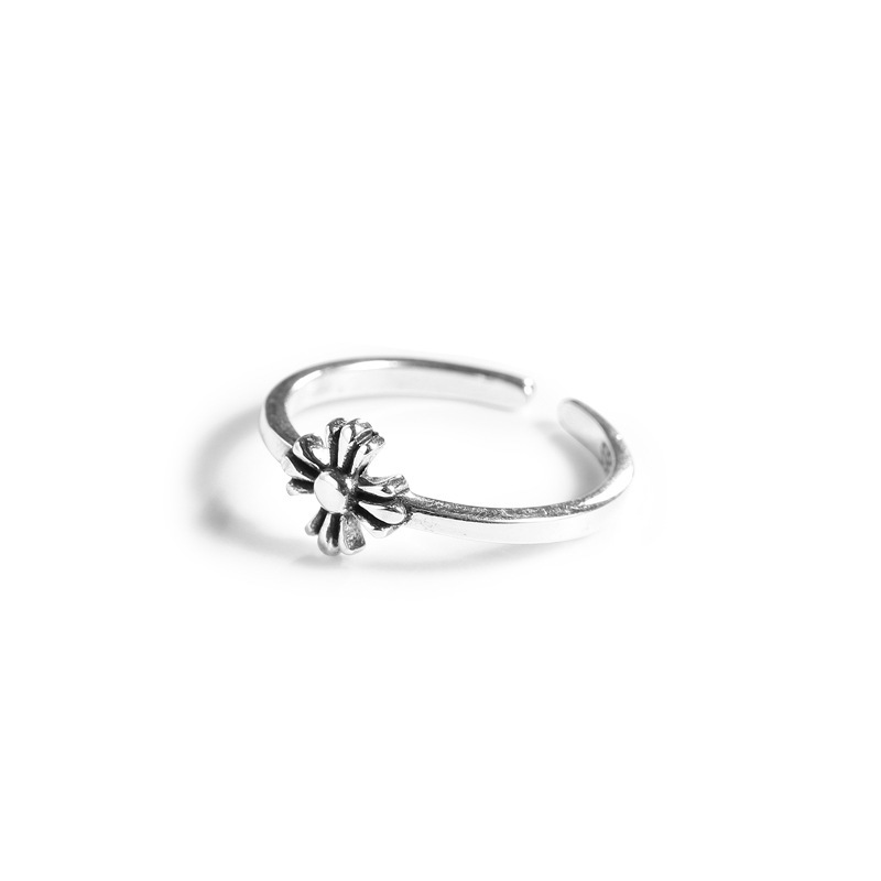 Flower Ring Pure 925 Silver Anillos Jewelry Vintage Party Gift Minimalism Femme Bague Femme Aneis Joyas Punk Rings For Women in Rings from Jewelry Accessories
