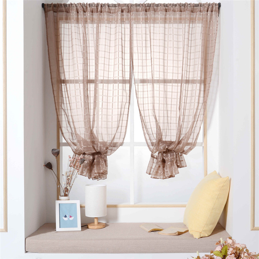 100*200cm 1Pc Polyester Window Curtains Fashion Window Curtains With lace Lattice Solid Color Window  ap524