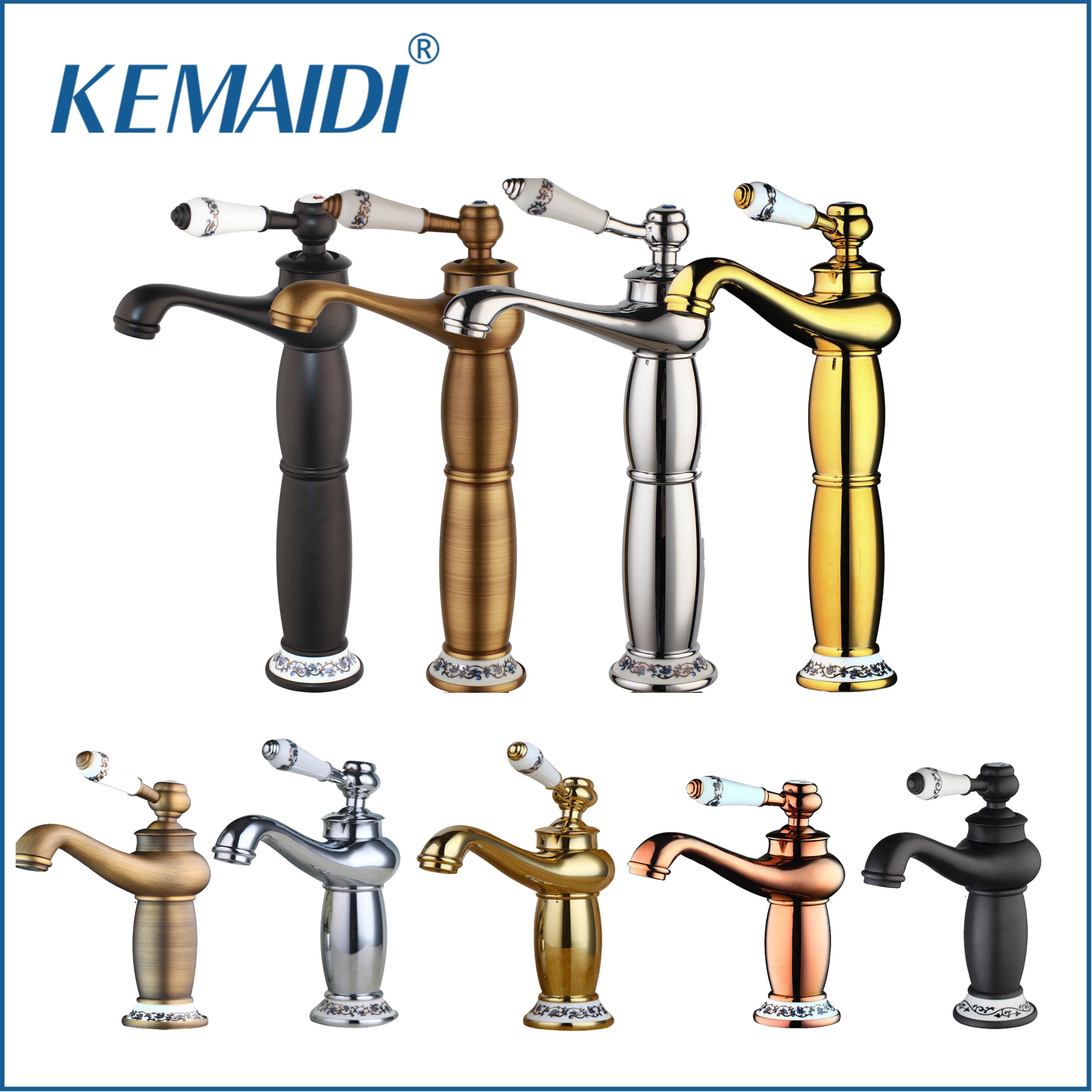 KEMAIDI Alto Antique Bronze/Chrome Bacia mixer Ouro Torneiras Do Banheiro Único Furo Único Punho Cold & Hot Water Tap torneira