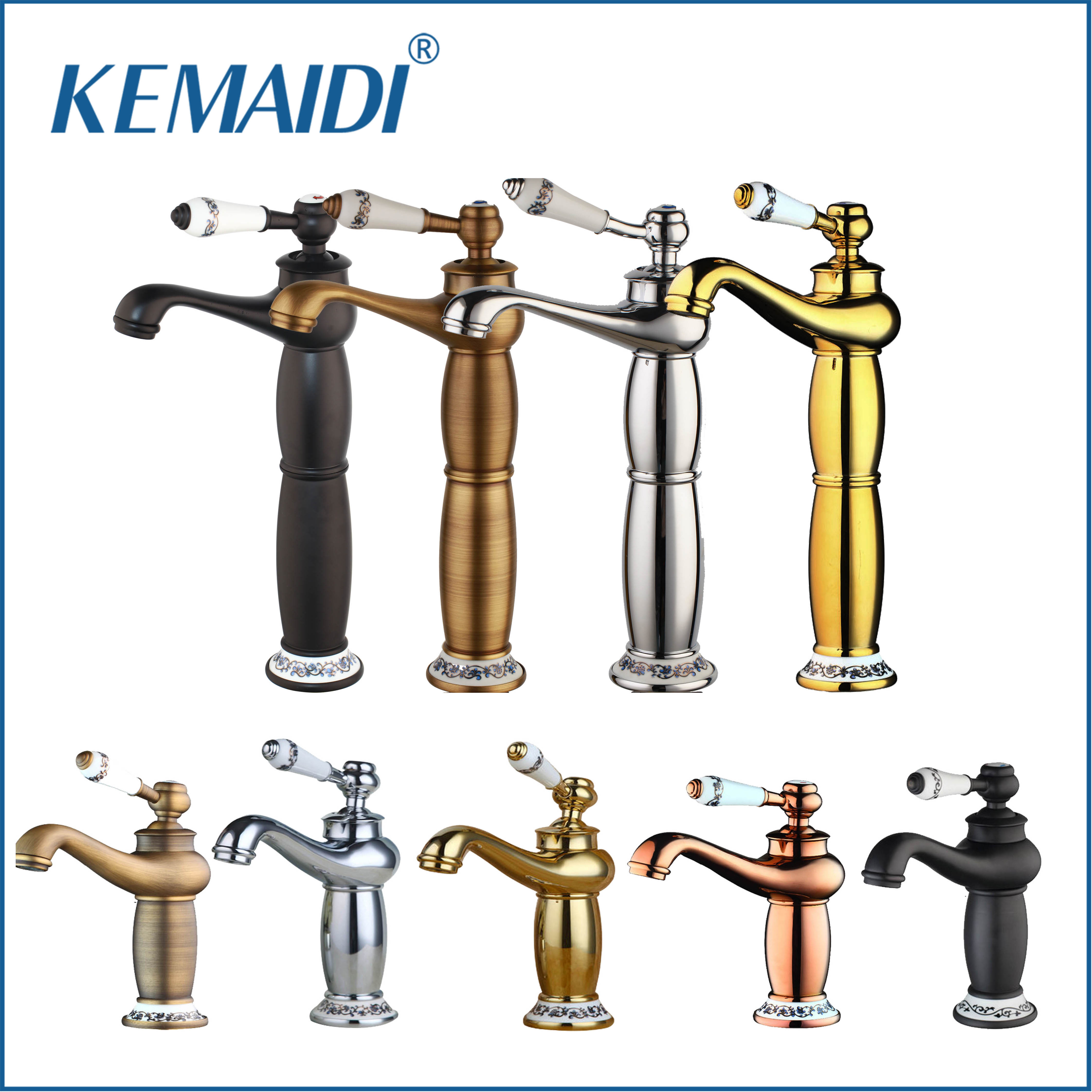 KEMAIDI Tall Antique Brass/Chrome Basin mixer Golden Bathroom Faucets Single Handle Single Hole Cold&Hot Water Tap torneiraKEMAIDI Tall Antique Brass/Chrome Basin mixer Golden Bathroom Faucets Single Handle Single Hole Cold&Hot Water Tap torneira