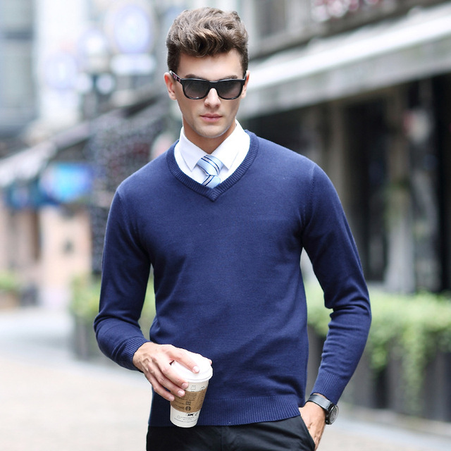 297b05fa58a Solid Color Pullover Men V-Neck Sweater Men Long Sleeve Shirt Mens Sweaters  Wool Casual Dress Brand Cashmere Knitwear Pull Homme