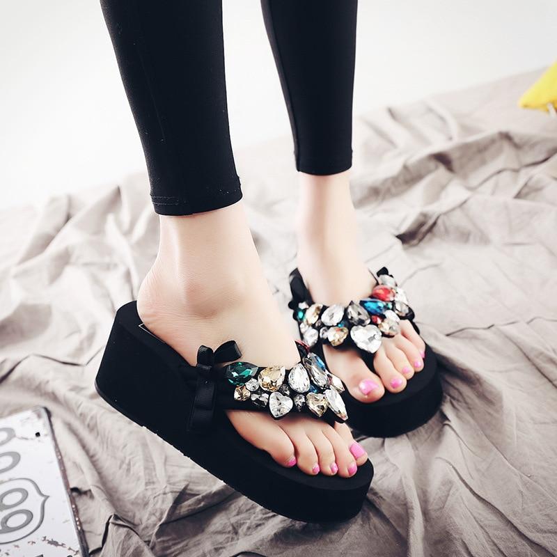 Platform Sandals Wedges Diamond Shoes Flip-Flops Summer Women Ladies Beach Bow-Knot 5-Colors