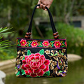2016 National Trend Women Bags Handmade Double Faced Flower Embroidered Canvas Embroidery Ethnic Shoulder Bags Handbag