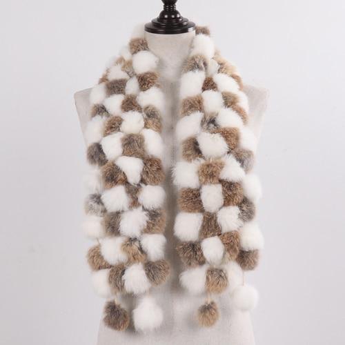 Women Natural Real Fur Scarf Winter Warm Genuine Rabbit Fur Muffler Lady Real Rabbit Fur Scarves Retail
