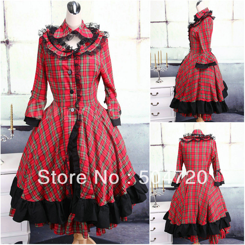 ON SALE V 1118 Red Cotton Gothic Lolita font b Dress b font victorian font b