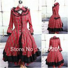 AUF VERKAUF! V-1118 Rot Cotton Gothic Lolita Kleid/viktorianischen kleid Cocktailkleid/halloween-kostüm US6-26 XS-6XL