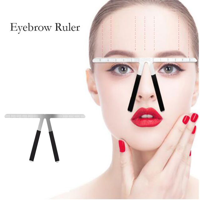 Permanent Makeup Tattoo Eyebrow Ruler Measure Tool Metal Stencil Brow Measure Eyebrow Guide Ruler Permanent Tools N40