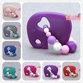 Perlas Elefante Mordedor bebé mordedor de silicona púrpura Hecho A Mano de Calidad Alimentaria de la FDA de silicona mordedor mordedor juguete masticable