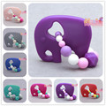 Silicone purple Elephant beads Teething Ring baby teether Handmade FDA Food Grade silicone teether toy chewable teether