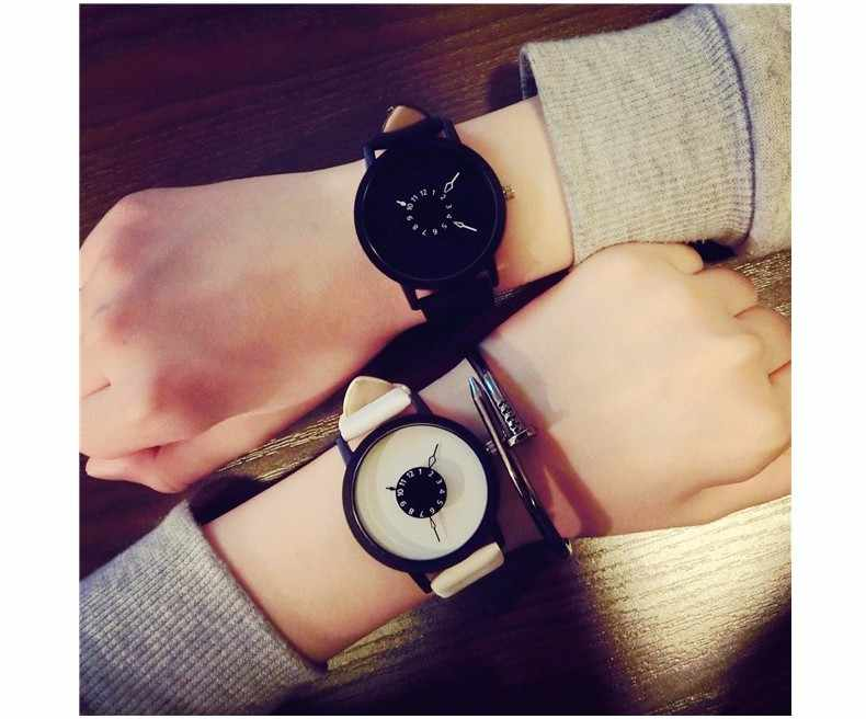 Hot moda criativa relógios das mulheres dos homens amantes de quartzo-relógio 2019 marca de design exclusivo dial relógio de couro relógio de pulso