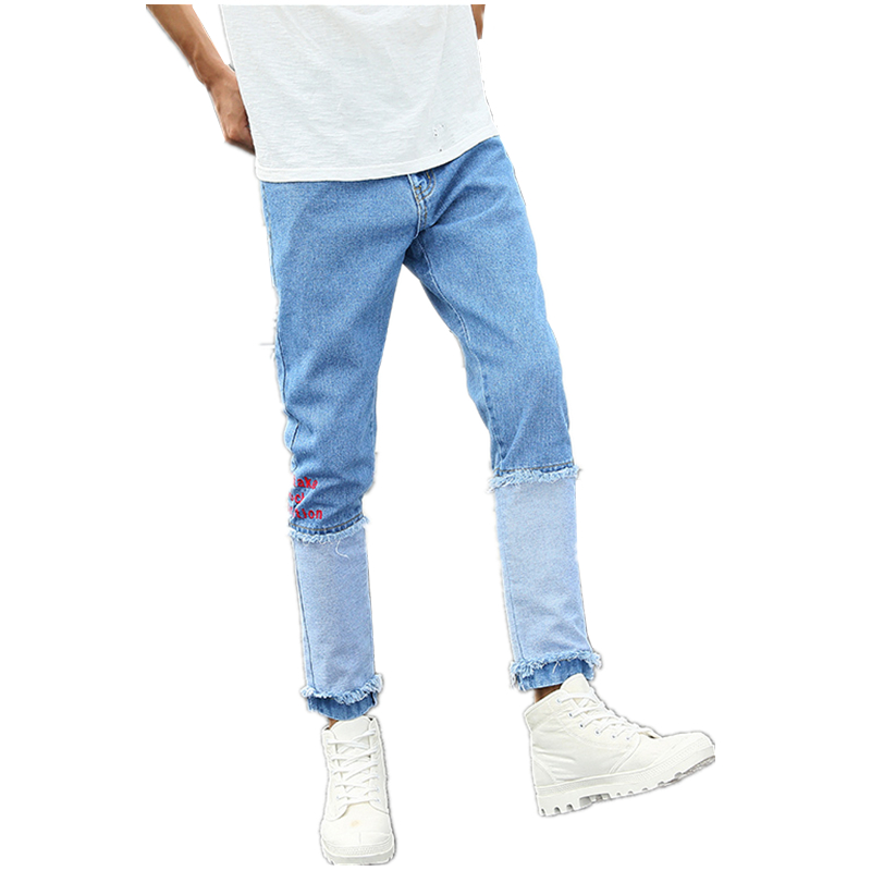 Spring Blue Small Stretch Stitching Mens Jeans 27 28 30 34 36 Youth Fashion Casual Man Trousers Hot Special Personality Pants