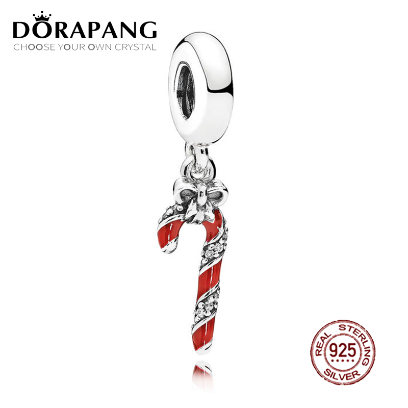 DORAPANG 100% 925 Sterling Silver Sparkling Candy Cane Dangle Charm Berry Red Enamel & Clear CZ Pendant Charms Bead Bracelet DIY