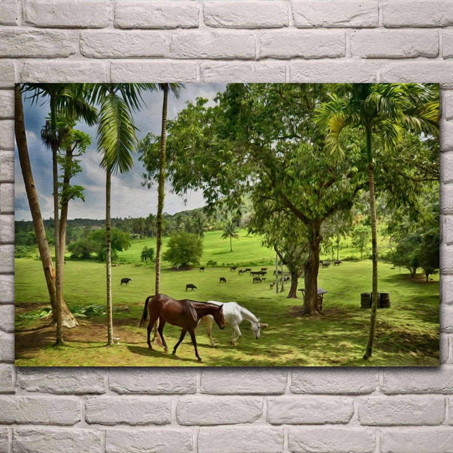 Happy Farm Green Nature Landscape Animals Horses 202fj Living Room Home Wall Art Decor Wood Frame Fabric Poster Fabric Posters Landscape Animalgreen Nature Landscaping Aliexpress