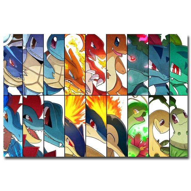 Аниме Плакат Гобелен Шелковый Все покемоны