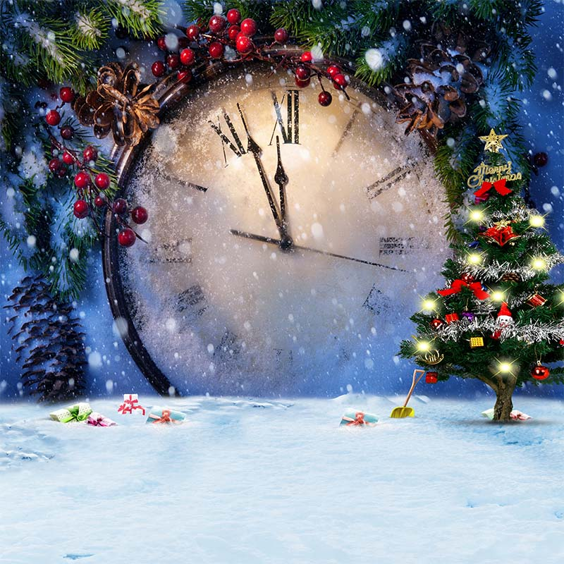8X8ft Vinyl photography Backgrounds Elk Snow Pine Tree Candy Christmas Clock Backdrops for Photo Studio CM-6314