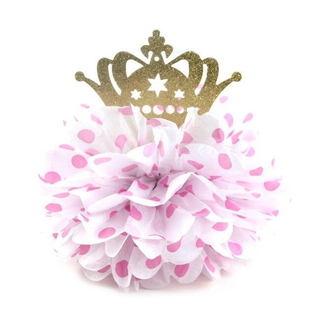 """1 stück 8 """"rosa Polka Dot Flauschigen Seidenpapier Pom Pom Blume Tabellenmittel Glitter Gold Crown Kleine Prinzessin Geburtstag Party"""