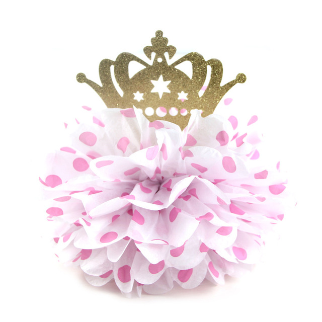 Us 3 95 1pc 8 Pink Polka Dot Fluffy Tissue Paper Pom Pom Flower Table Centerpiece Glitter Gold Crown Little Princess Birthday Party In Party Diy