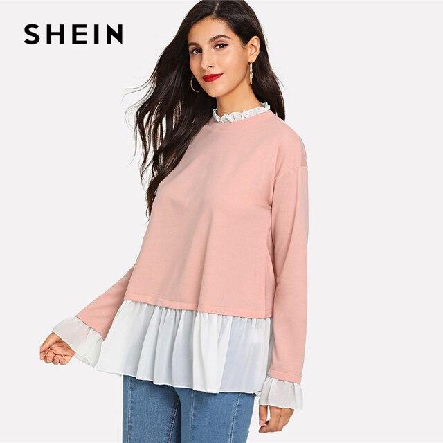 a12864ba2d4 SHEIN Pink Contrast Ruffle Trim Heather Knit Sweatshirt Minimalist Stand  Collar Pullovers Women Colorblock Autumn Sweatshirt