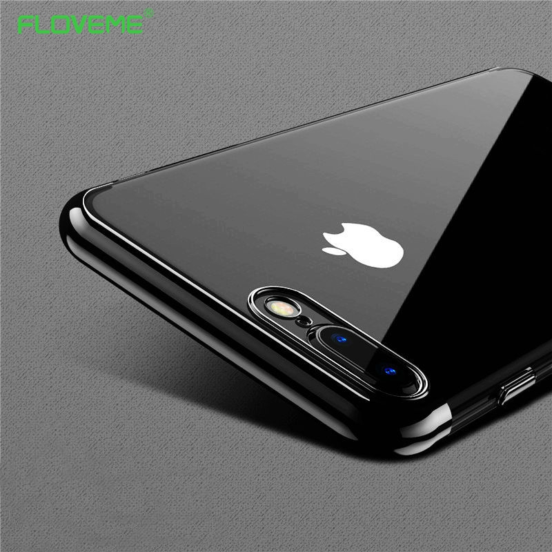 quality design 6abc8 ad288 FLOVEME Bumper for iPhone 7 / 7 Plus , Clear Soft Ultra Thin Light Anti  Knock Protective Cover Cases for iPhone7 Black Luxury -in Phone Bumper from  ...