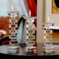 Europe Style Crystal Candlestick Religious Candle Holder Tealight Wedding Decor Centerpieces Crystal Candlestick lw561133py