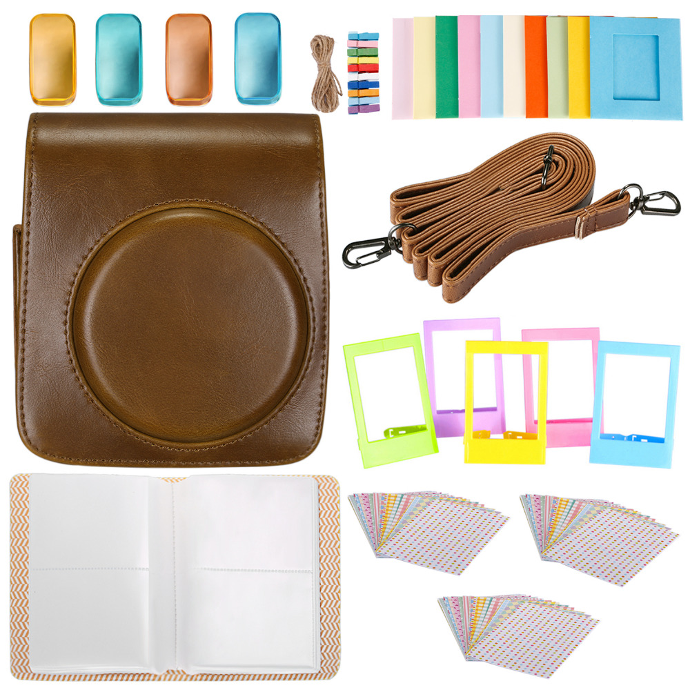 Neewer 25 in 1 Accessory Kit for Fujifilm Instax Mini 70: 1 Camera Case/1 Blue Album/4 Colored Filters/5 Film Table Frame