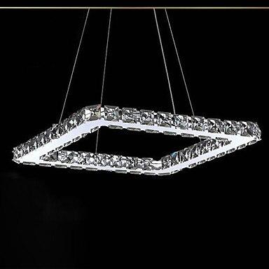 20 CM LED pendentif en cristal, placage carré moderne en acier inoxydable, pour salle de jeux, chambre d'enfants, salle de bains, salon