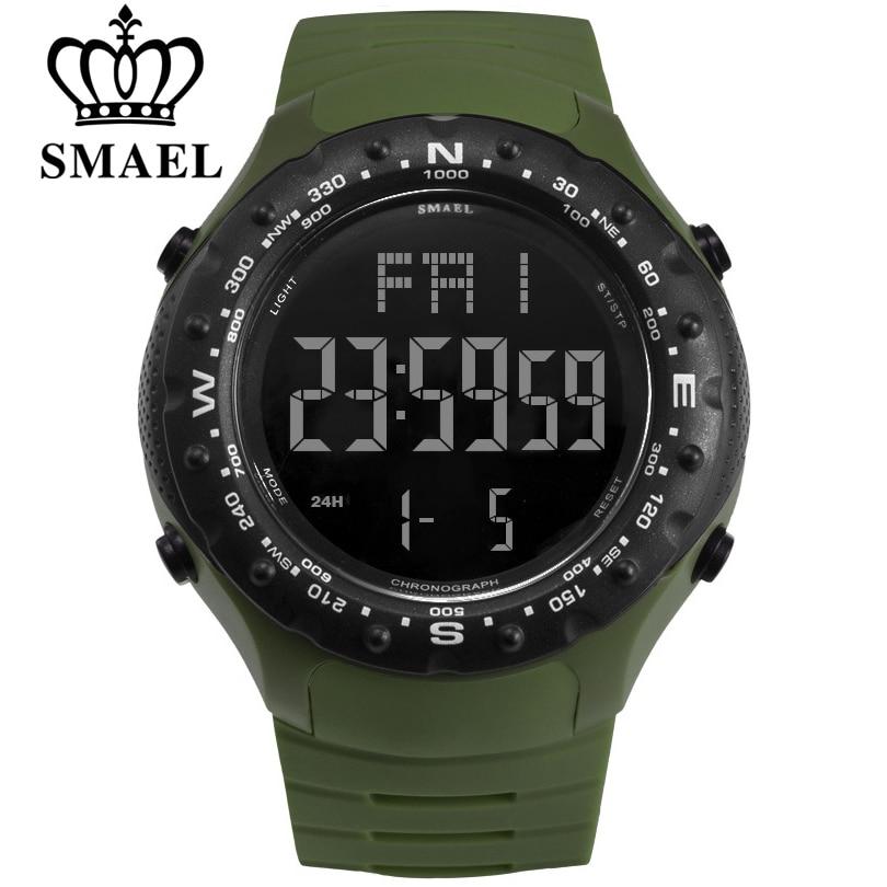 SMAEL Men Sports Watches Countdown Double Time Watch Alarm Chrono Digital Wristwatches 50M Waterproof Relogio Masculino