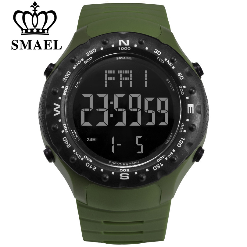 SMAEL Men Sports Watches Countdown Double Time Watch Alarm Chrono Digital Wristwatches 50M Waterproof Relogio Masculino