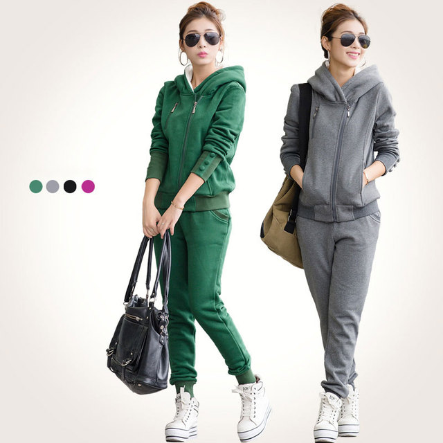 M-4XLNew Women's Sweatshirt Tracksuits Autumn 2016 Winter Fashion Casual Plus Velvet Warm Sweatshirt + Pants Sportswear Female