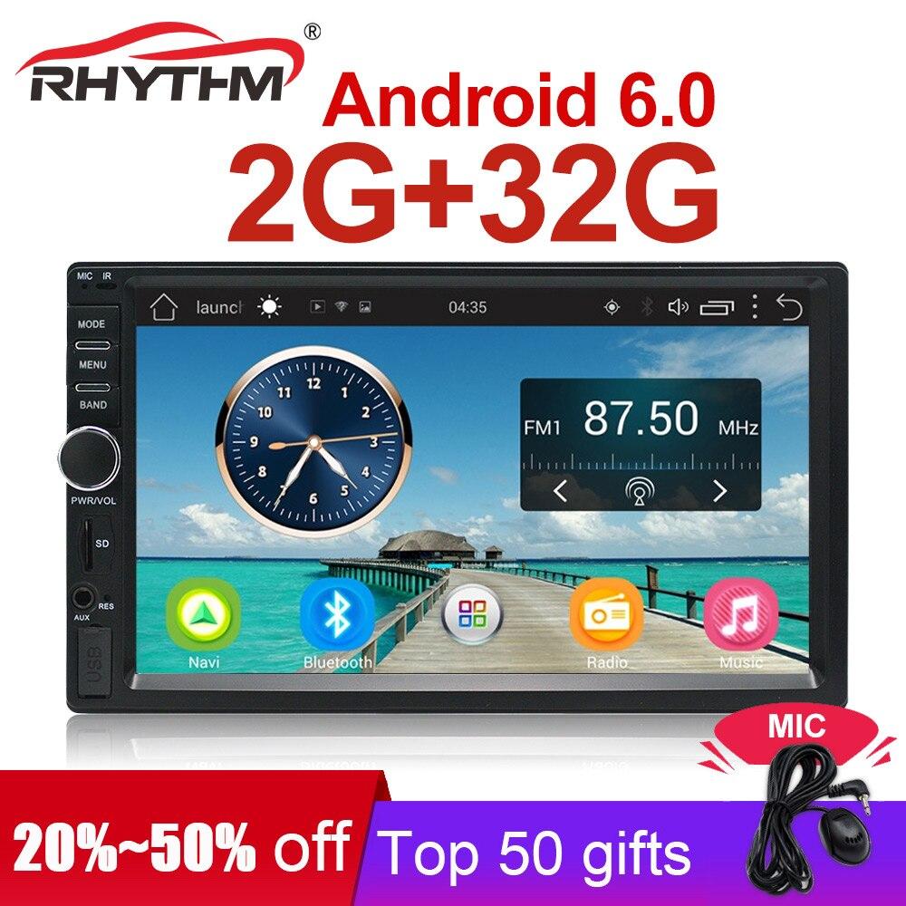 Auto Voiture Radio GPS Stéréo RAM 2G + 32G Android 6.0 7 2din multimédia lecteur Navigation bluetooth HD écran tactile universel (Pas de DVD