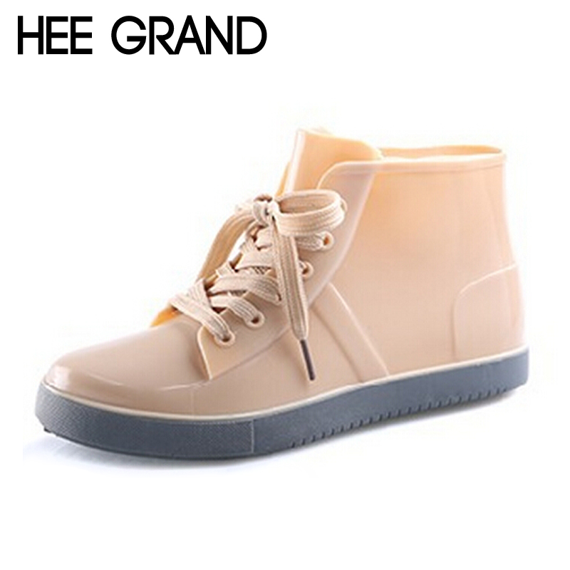HEE GRAND Lace-Up RainBoots Fashion Solid Flat Ankle Rain Boots Casual Silver Women Flats Shoes Woman 4 Color Size 35-40 XWX3072 цены онлайн