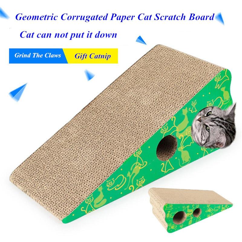 JCPAL Intéressant Géométrique Ondulé Papier Chat Scratch Bord Interactif Jouet Pour Chat Imprimé Avec Belle Autocollant Chat Formation