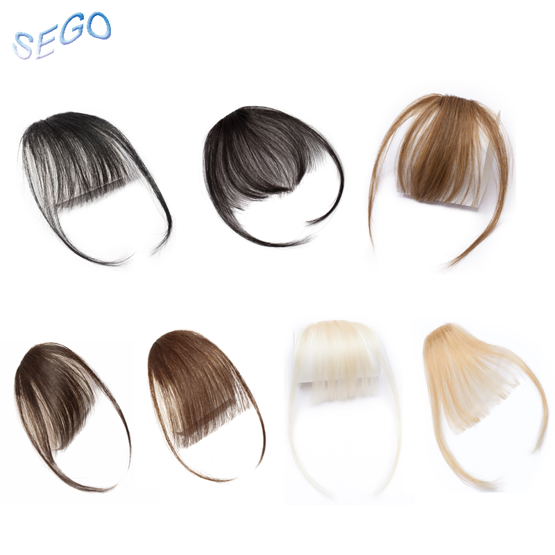 SEGO Straight Pure Color Blunt Air Bangs Two Side Bangs Front Hair Fringes Clip In Non-Remy Human Hair Neat Women Fringes 3g(China)