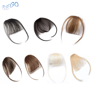 SEGO Thin Small Air Hair Bangs with Temples Remy Hair Clip in Human Hair Extensions Fringe Hairpiece for Women