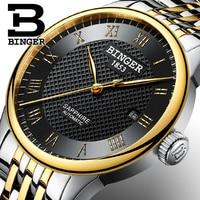 Top Klok BINGER Bedrijf Horloges Mannen Luxe Merk Sapphire Waterdicht Swim Zelf wind Automatische Kronkelende Mechanische Horloge