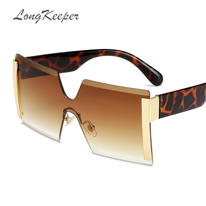 2019 Oversized Square Rimless Sunglasses Women Brand Designer Flat Top Big Sun Glasses Female One Piece Travel Gafa De Sol 6931