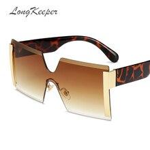 0c34e7a16 2019 Oversized Square Rimless Sunglasses Women Brand Designer Flat top Big  Sun Glasses Female One Piece