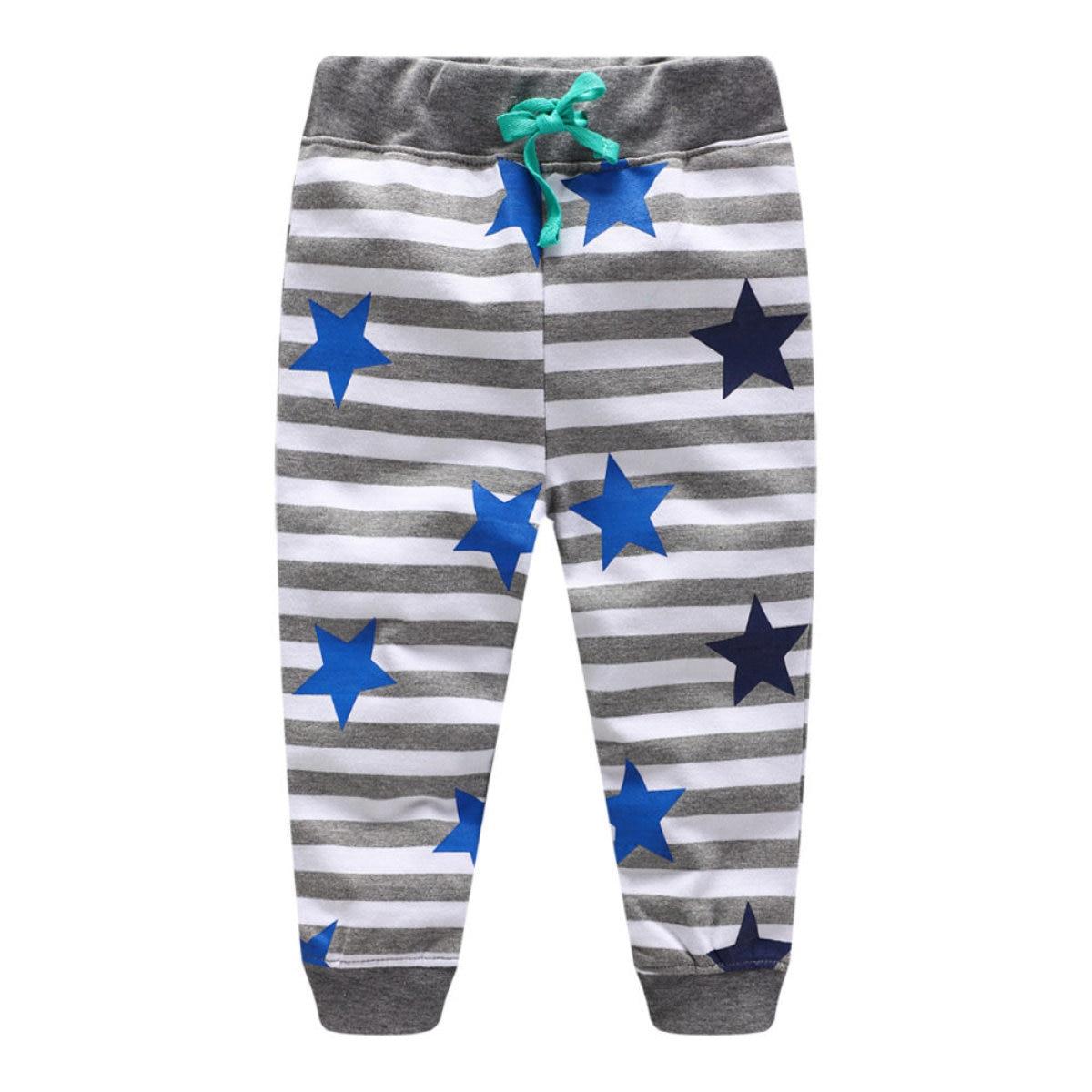 Littlemandy Star Stripe Boys Cotton Pants Children Trousers Brand Print Autumn Winter Baby Clothes Sweaterpants Kids Leggings