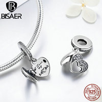 925 Sterling Silver I Love My Mom Heart Dangle Pendant Charm Beads Fit Original Pandora Charm