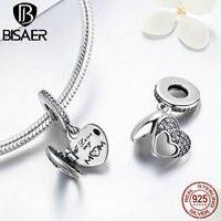 925 Sterling Silver I Love My Mom Heart Dangle Pendant Charm Beads Fit Original Pandora Charm