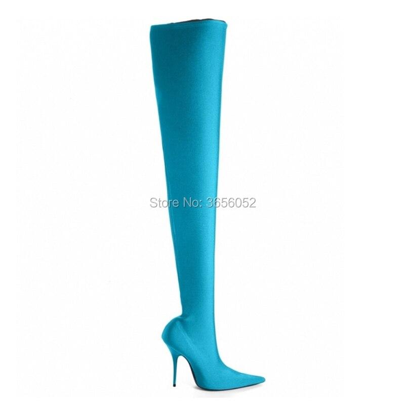 As En Impresión Celebrity Pic Tacones Calcetín Botines Slip Estiramiento Qianruiti Talón Botas as Muslo Stiletto Altos Zapatos Punta Pic Estrecha Mujer Floral CwFcxUq